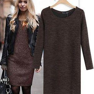 Dresses & Skirts - Women Knitted Long Sleeve Mini Sweater Dress